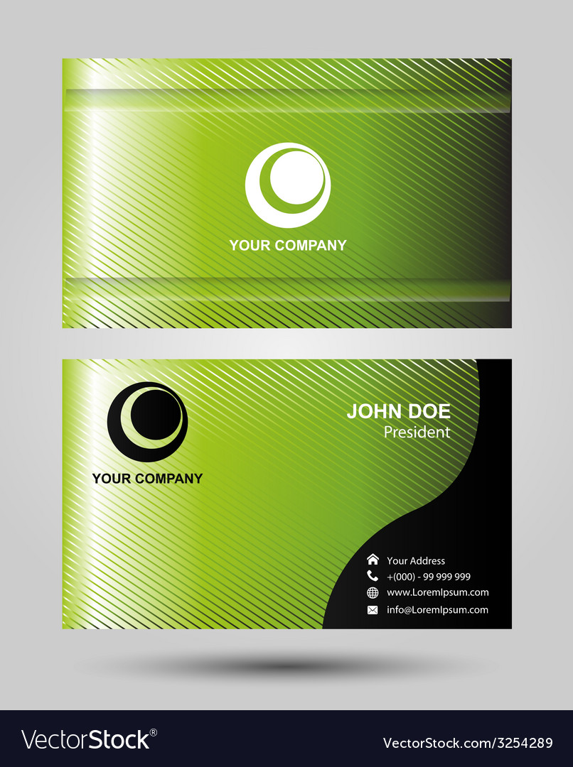 Stylish green wave simple business card template v vector image