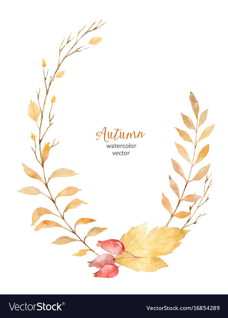 Watercolor wreath of leaves and branches