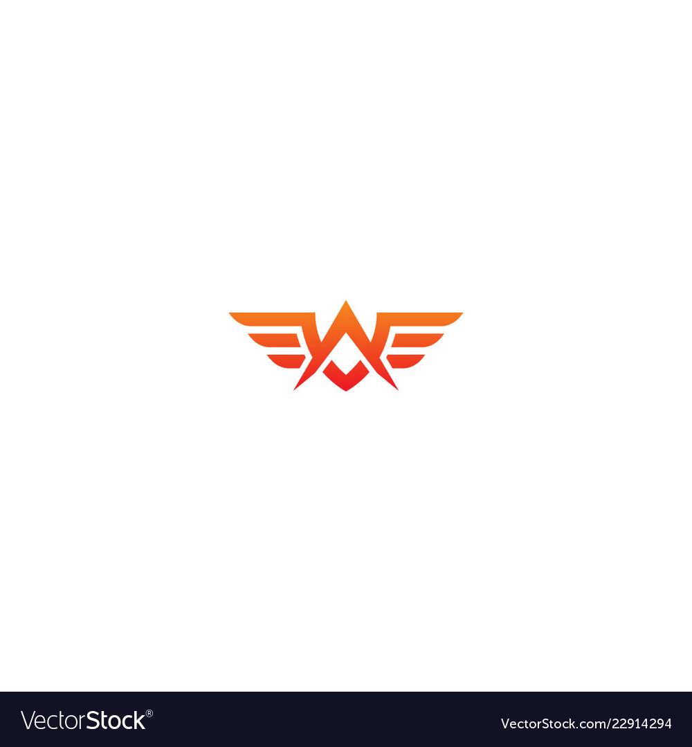 Abstract wing fly emblem company logo