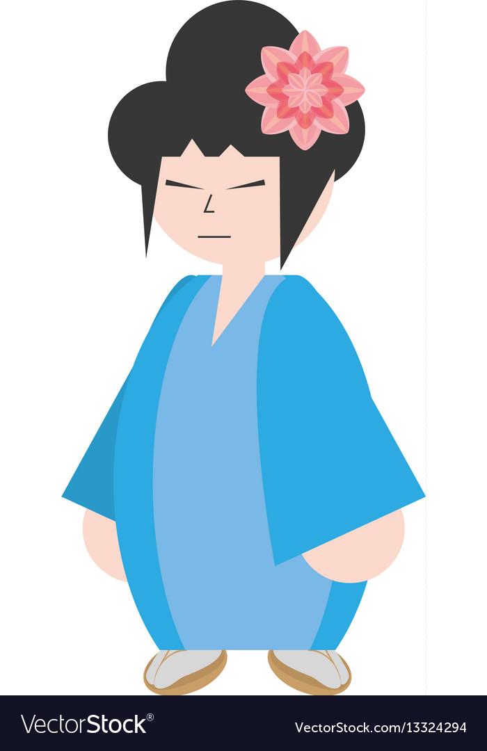 Asian woman wearing dress and sakura flower vector image