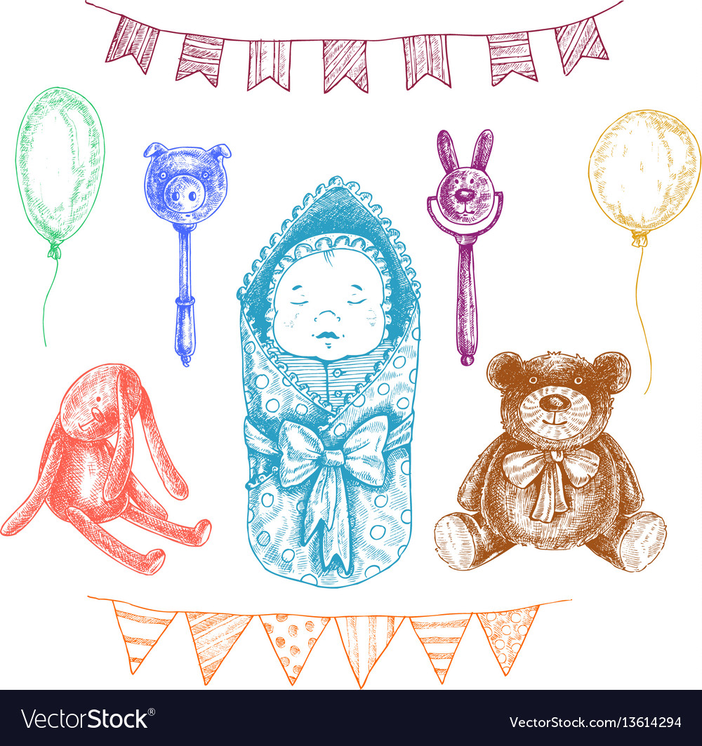 Baby newborn toys in hand drawn style isolated