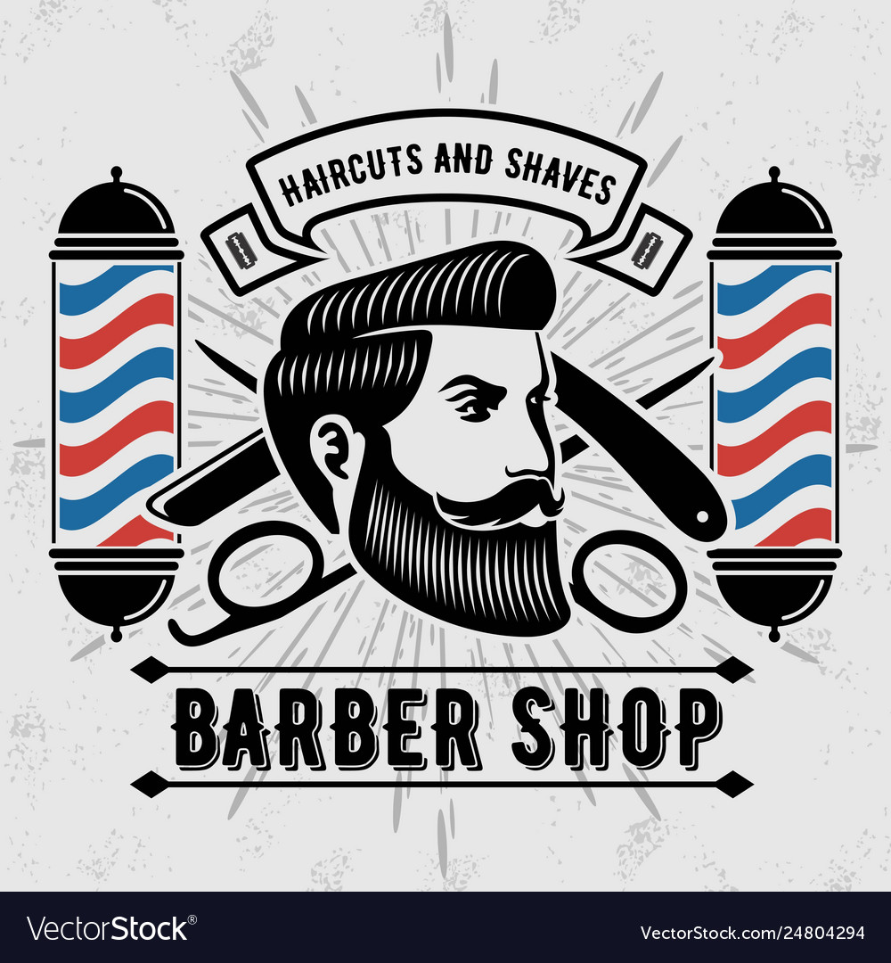 Barber shop vintage label badge or emblem