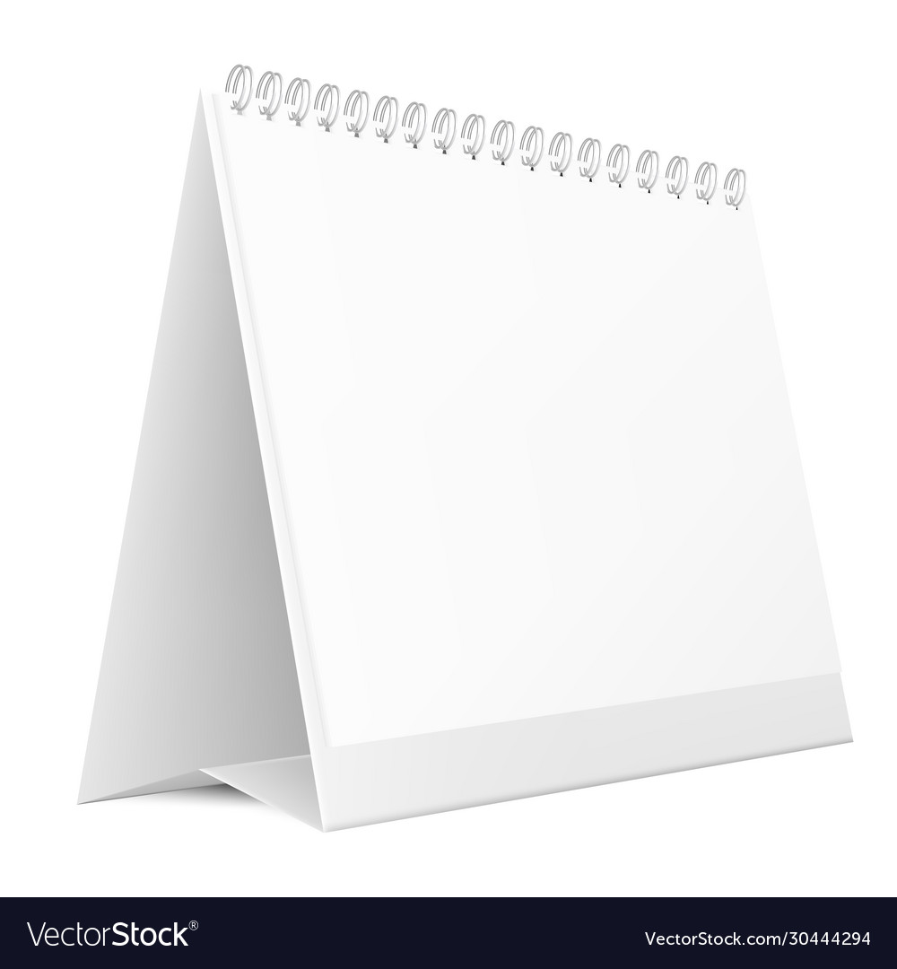 Blank desktop calendar isolated on white