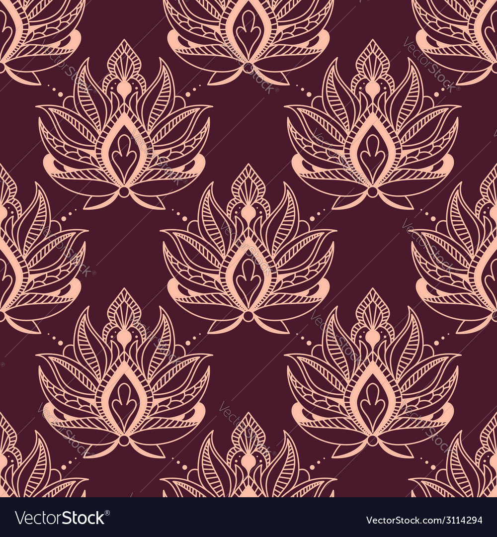 Burgundy And Pink Damask Floral Pattern Royalty Free Vector