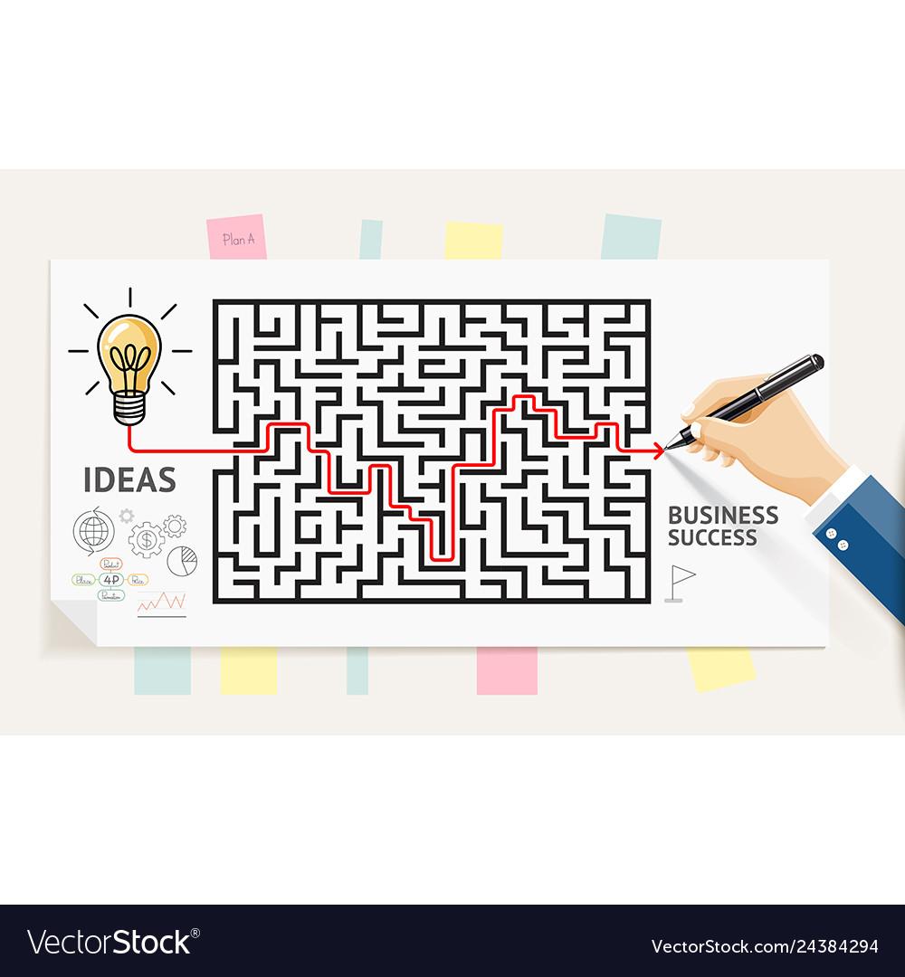 Businessman hand drawing line maze labyrinth