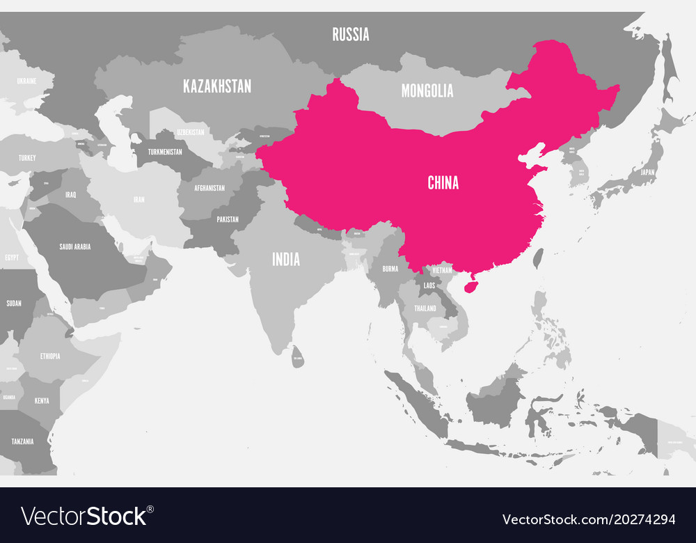 China Pink Marked In Political Map Of Southern Vector Image