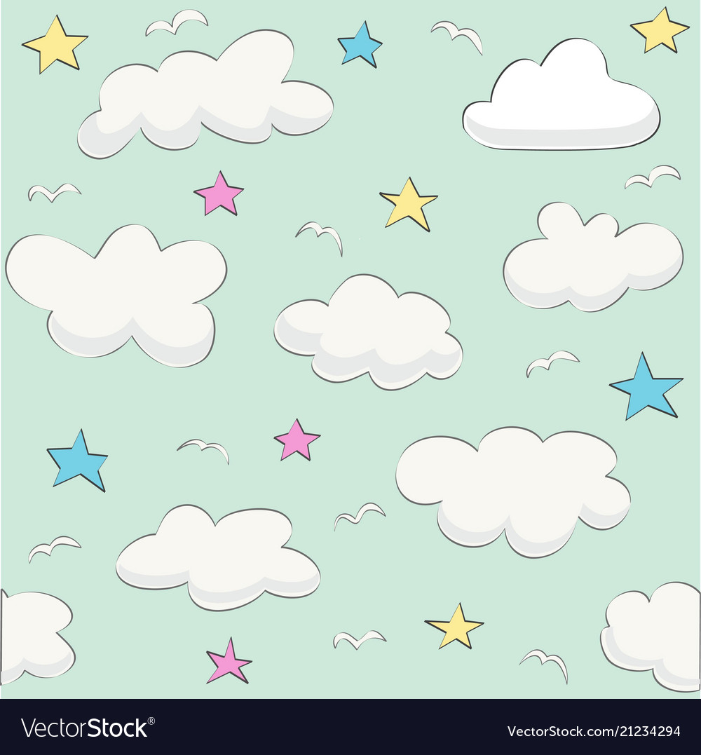 Cute baby cloud pattern seamless