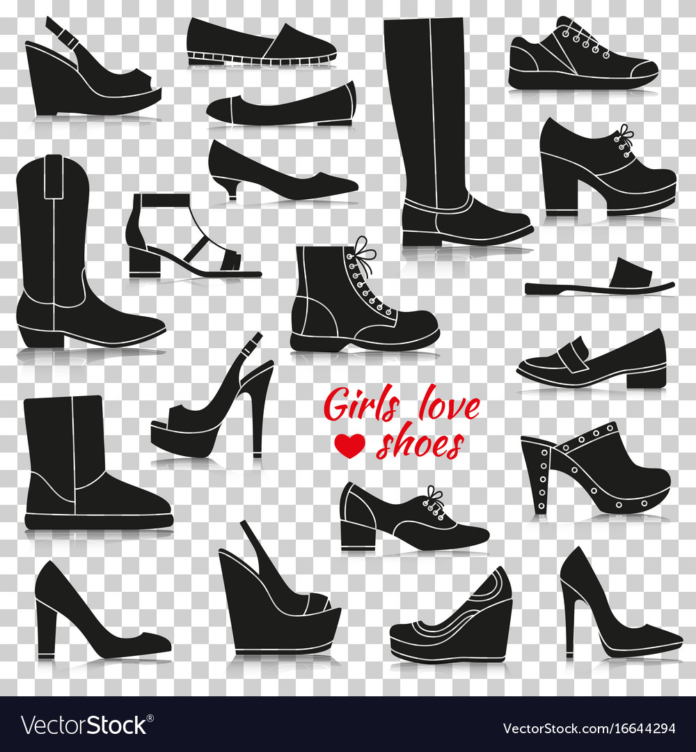 Different women shoes silhouette icons with