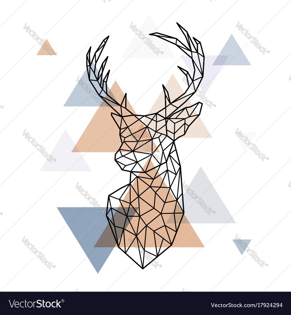 Geometric head of the scandinavian deer polygonal