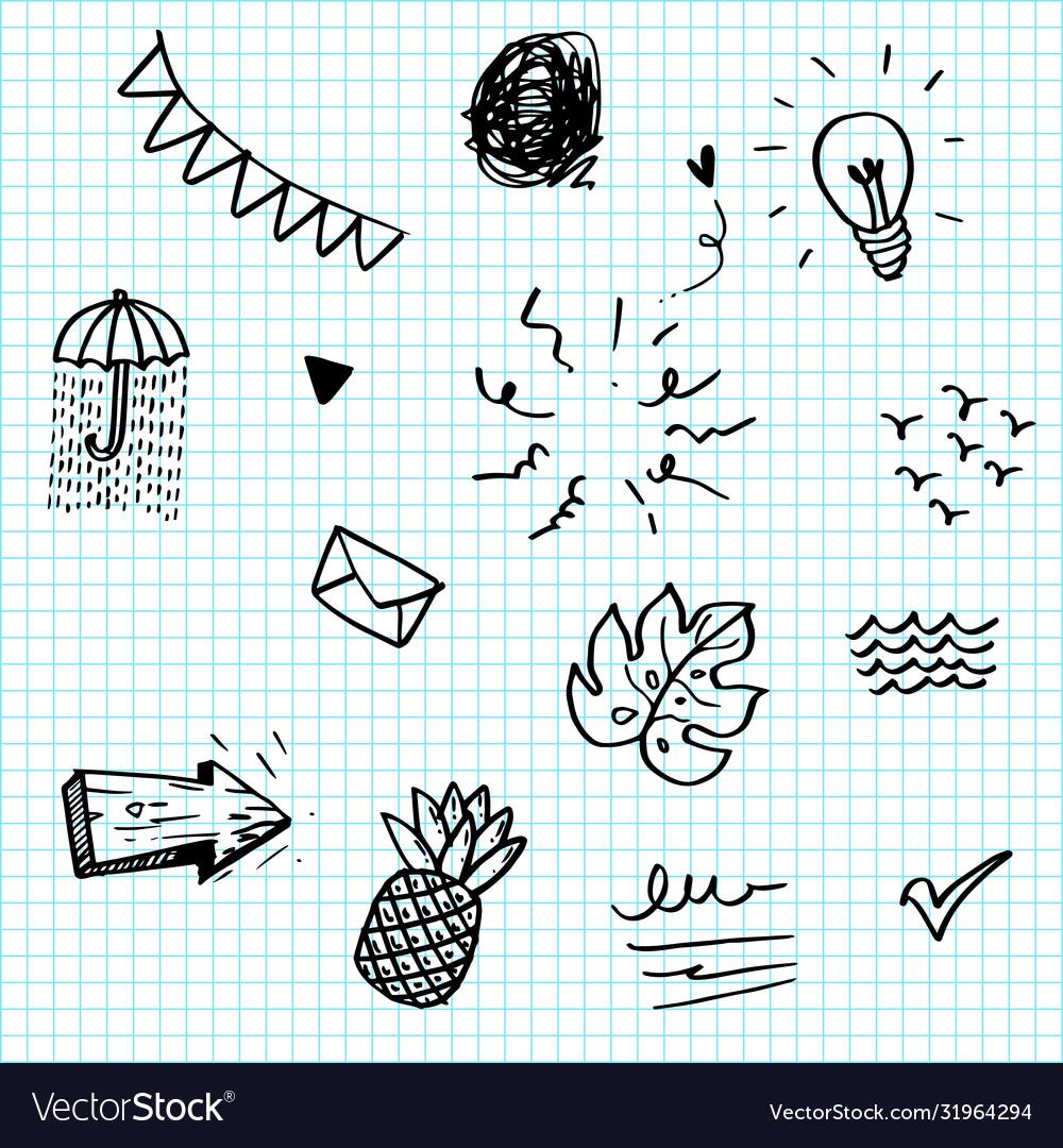 Hand drawn set elements black on paper
