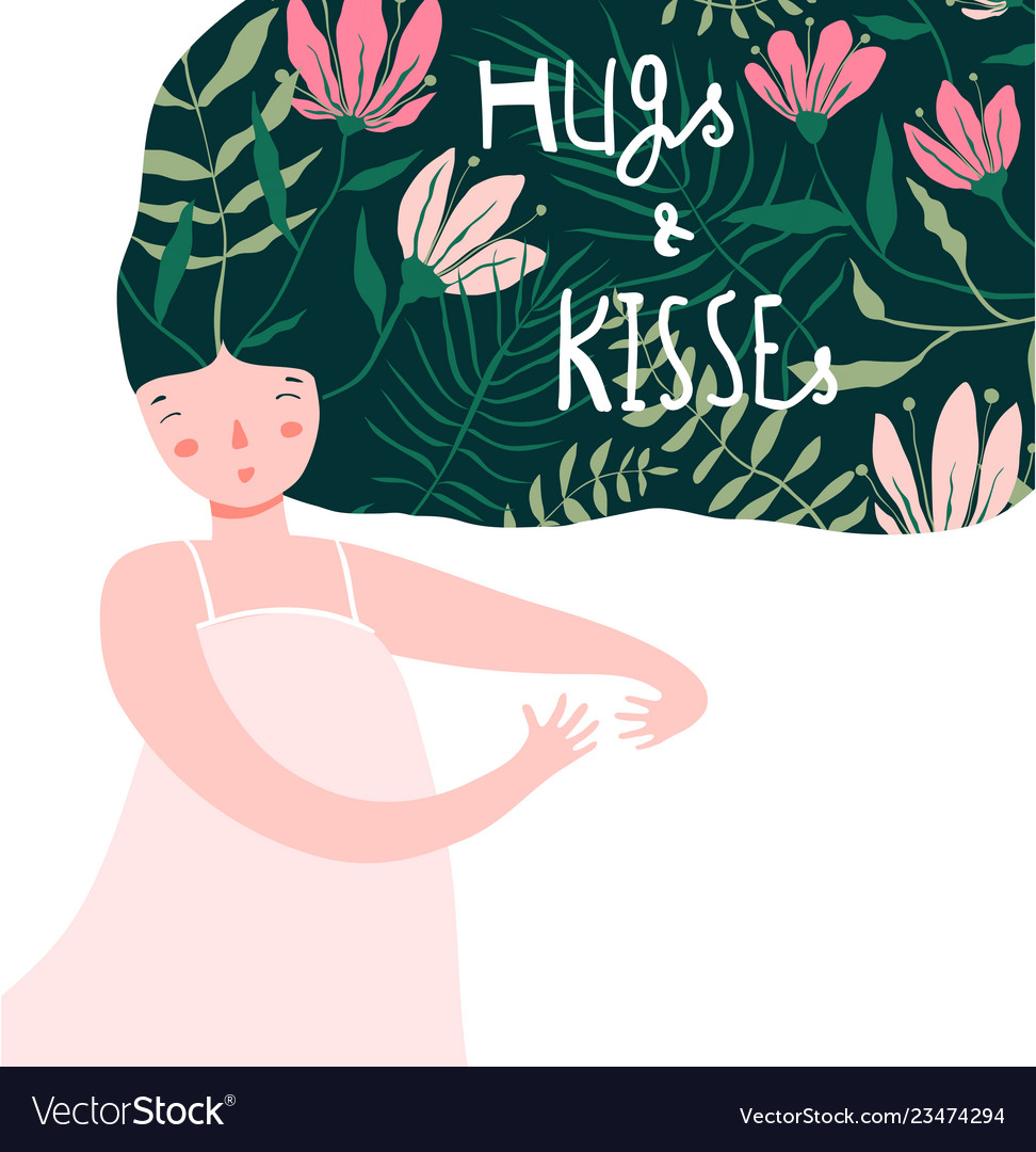 Hug and kiss dreaming of love and flowers girl