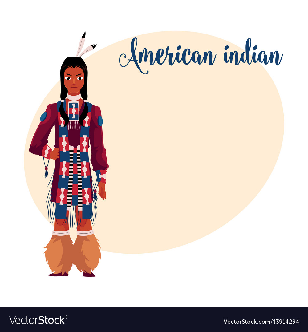 Native american indian man in traditional national