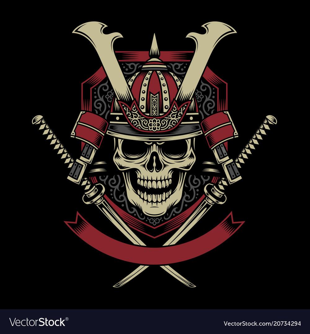 cd348344e Samurai warrior skull with crossed katana swords Vector Image