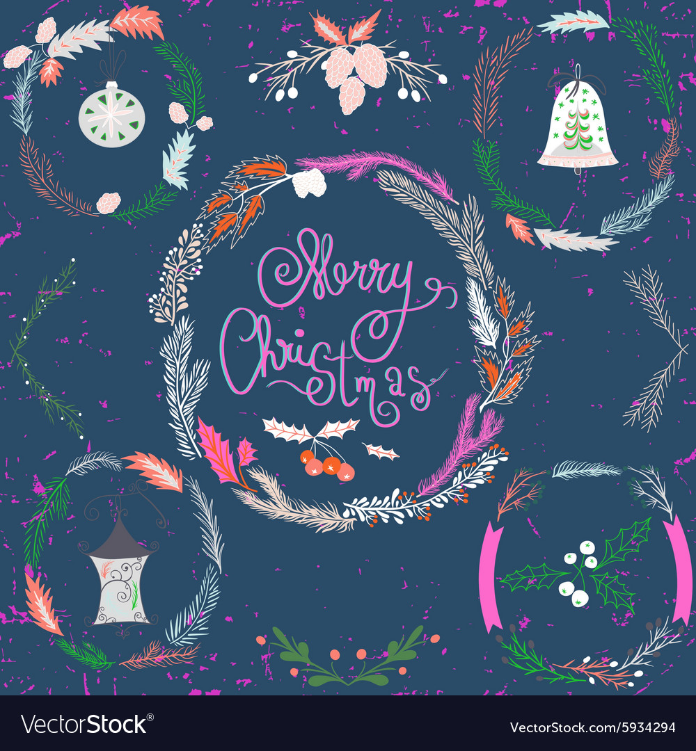 Set of Christmas and New Year wreath and other