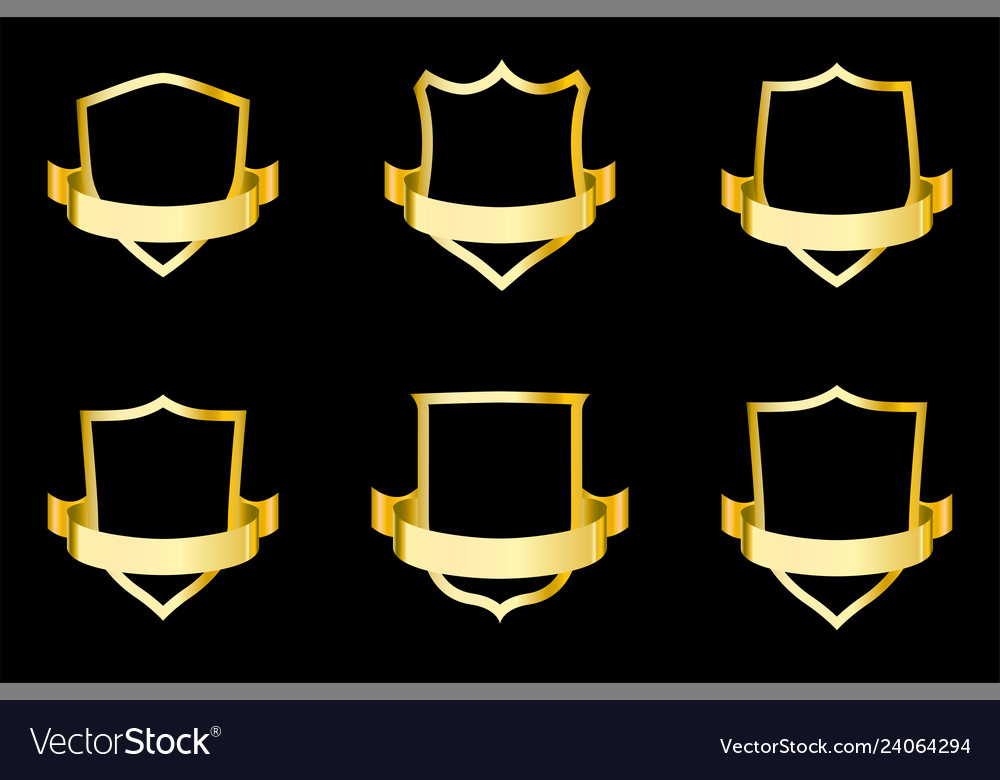 Set of golden shields with ribbon