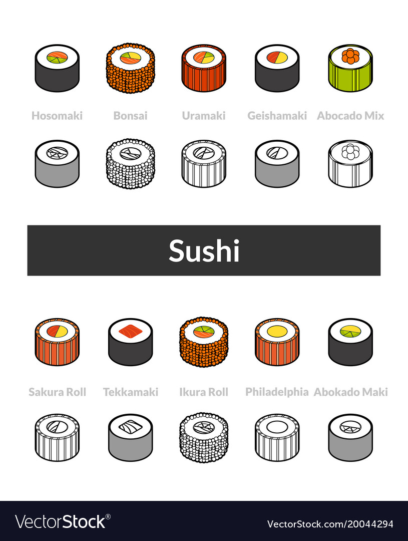 Set of isometric icons in otline style colored