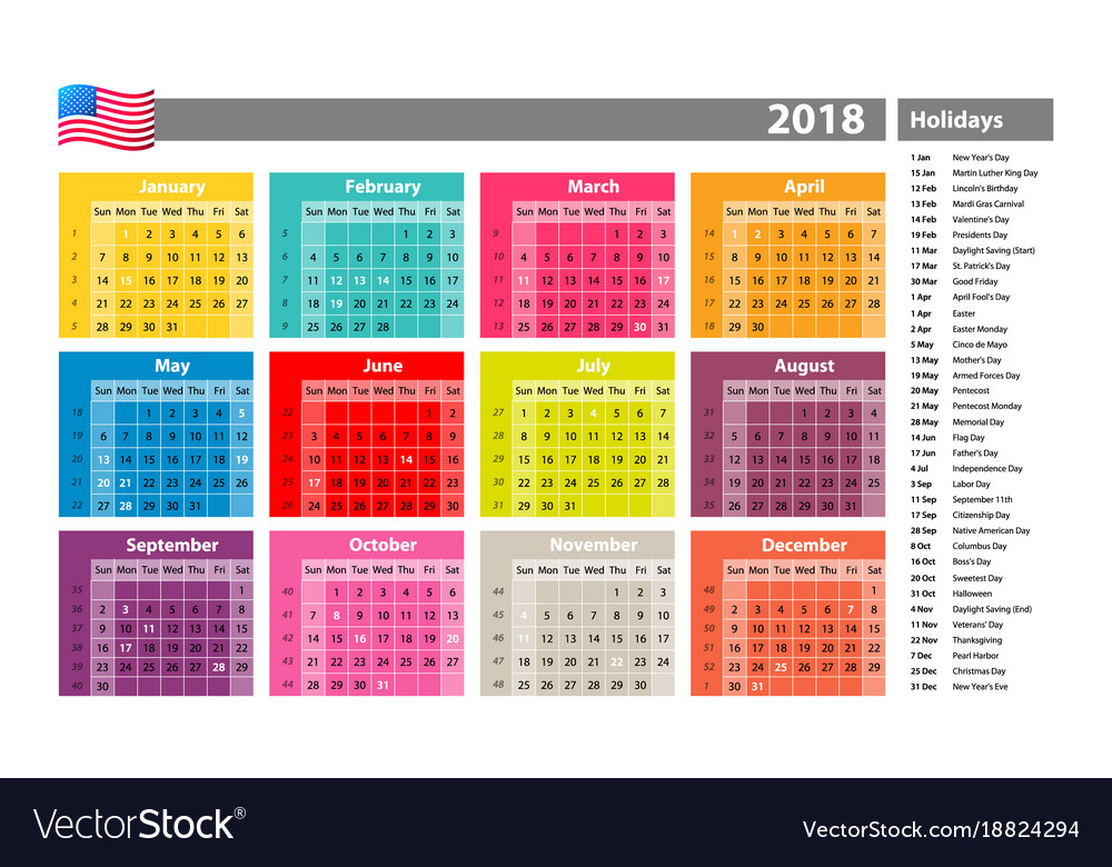 Simple calendar 2018 marked with the official vector image
