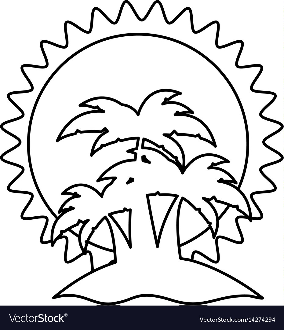 Sketch silhouette sunset with beach and palms vector image