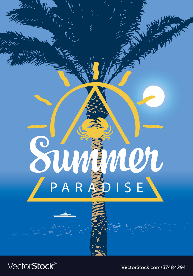 Summer travel banner with seascape palm and ship