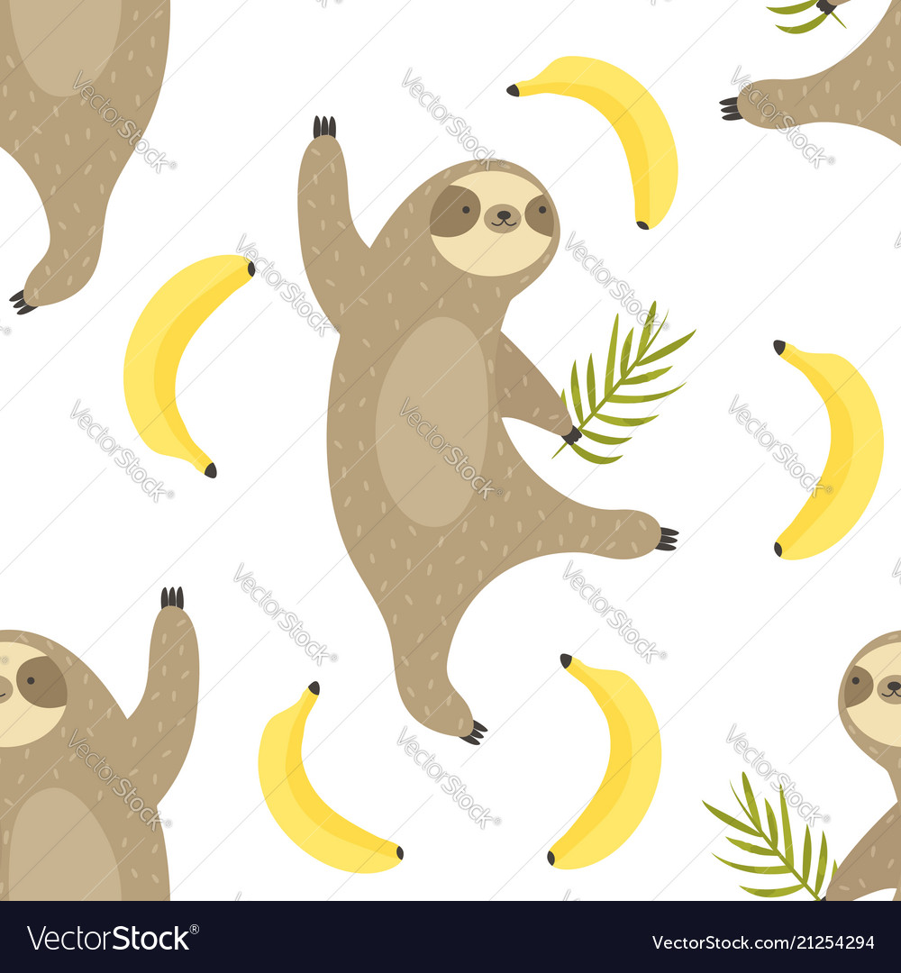 Tropical seamless pattern with dancing sloths