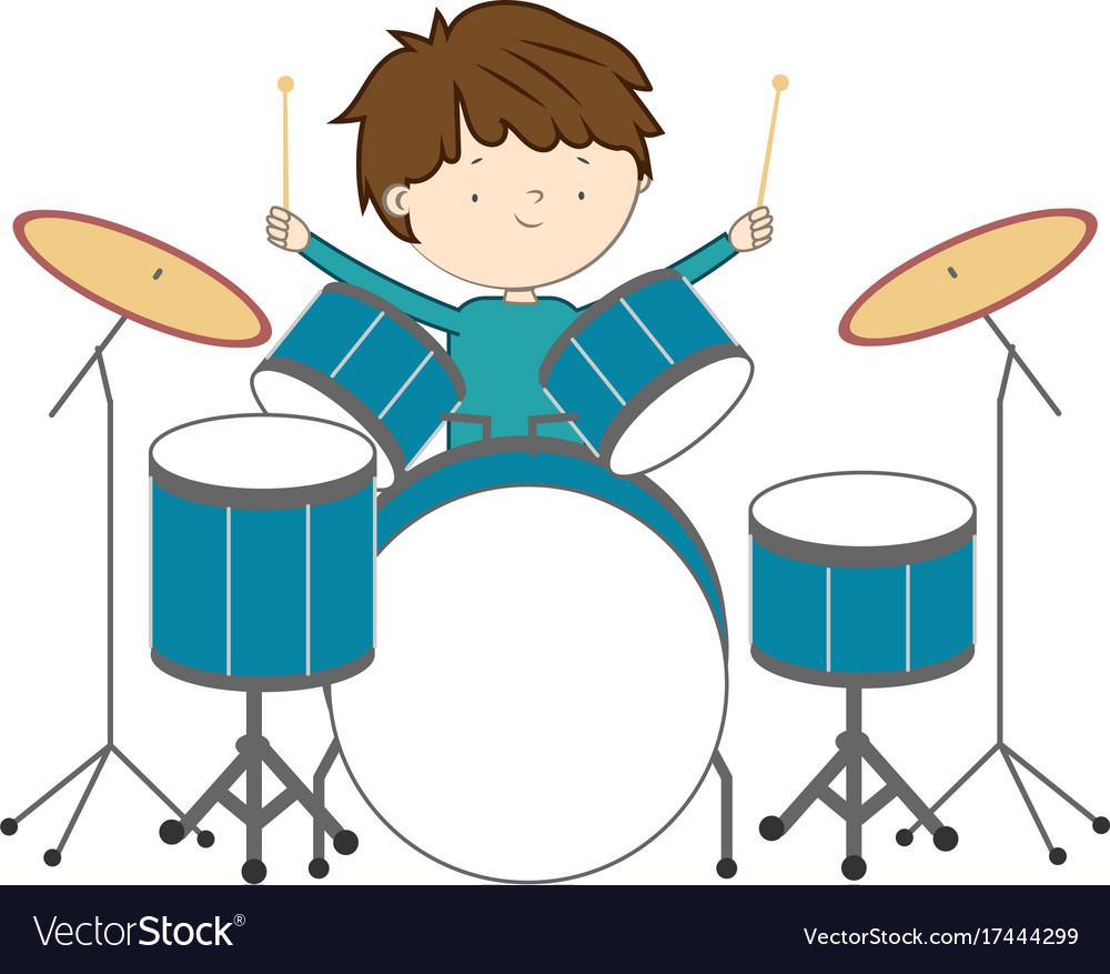 Boy playing drums isolated on white background