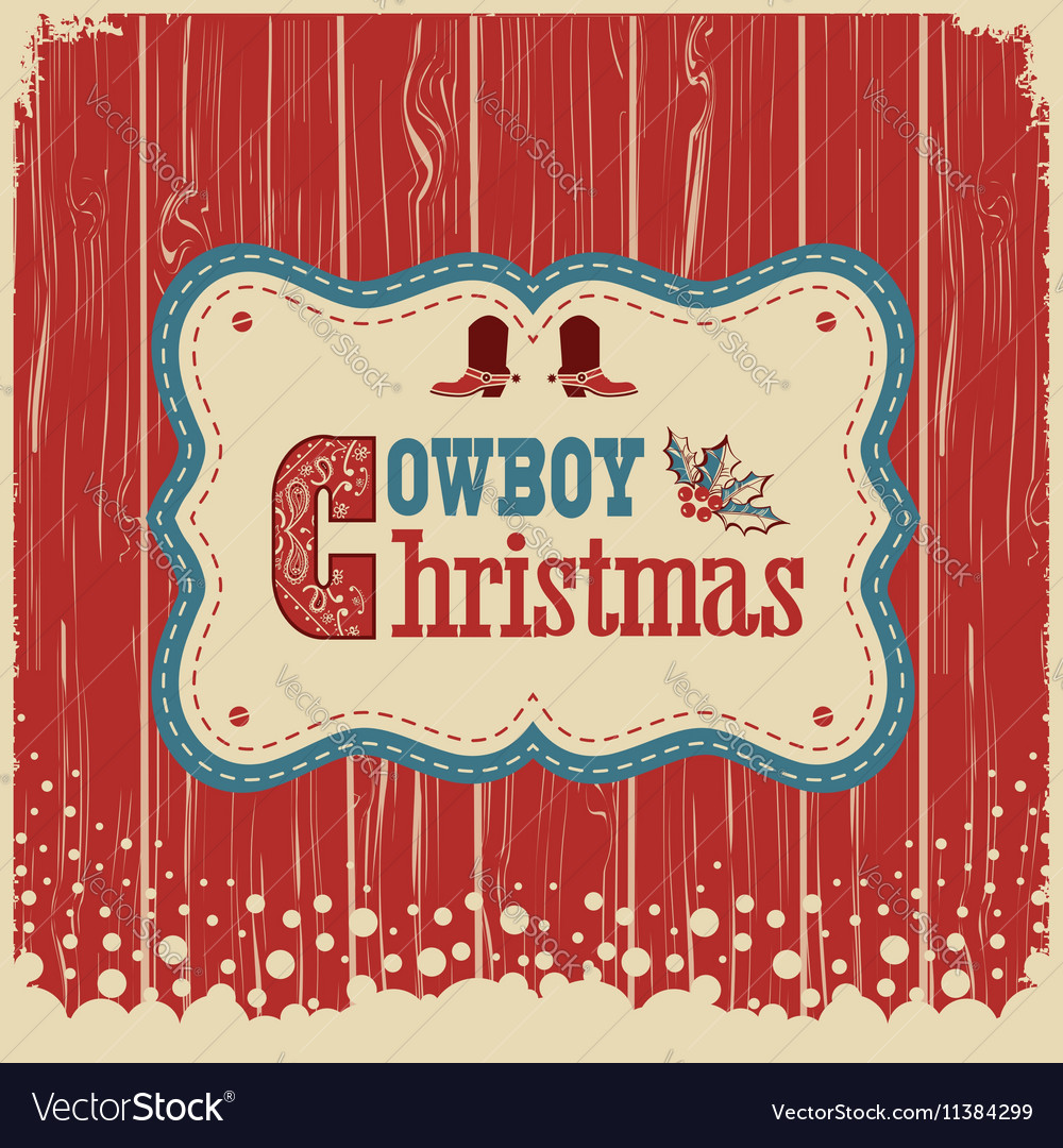 Cowboy christmas card with text on wood board vector image