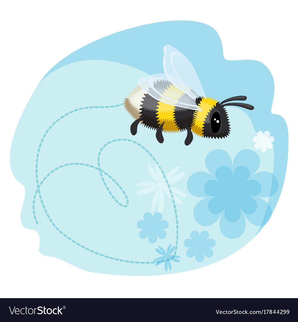 Cute bumblebee leaves trace in shape of heart