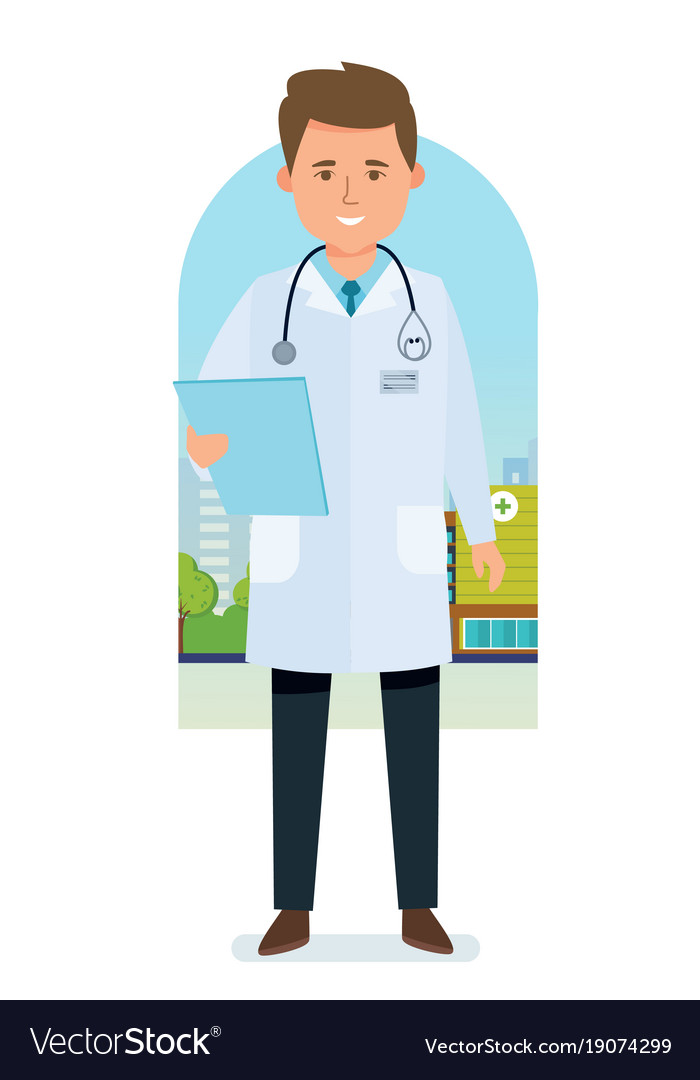 Doctor in medical dressing gown with documents Vector Image