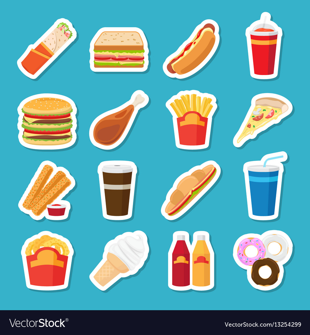 Fast food and drink stickers vector image