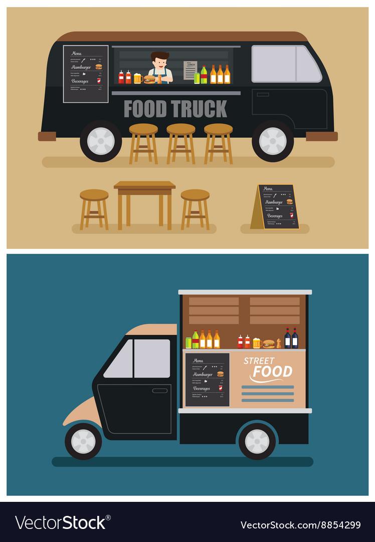 Food truck flat design