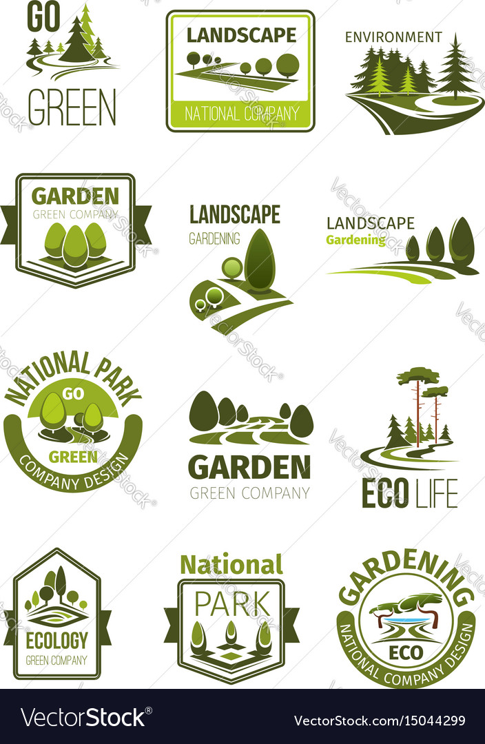 Green landscape and gardening company icons