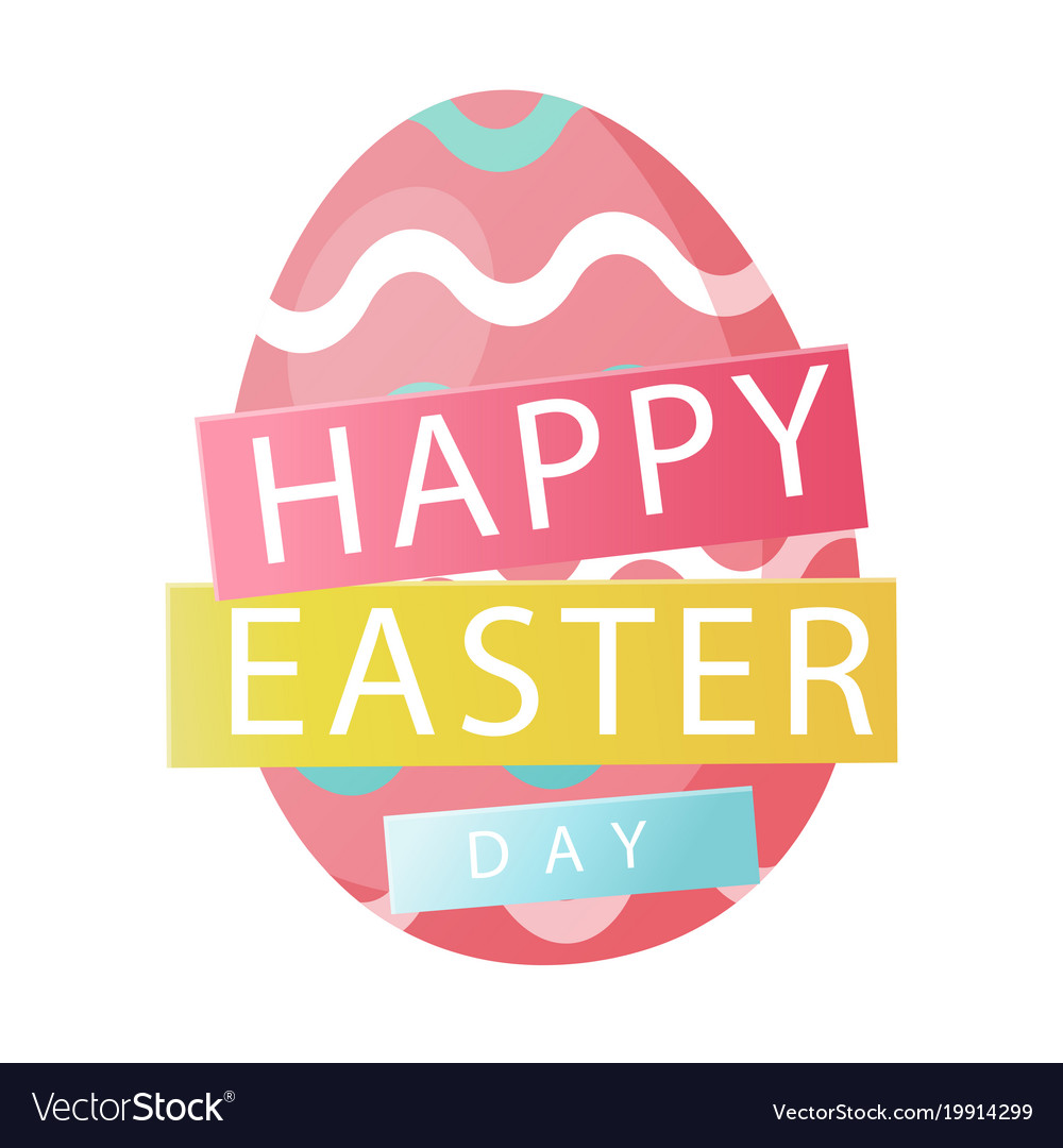 Happy Easter Day Pink Egg White Background Vector Image