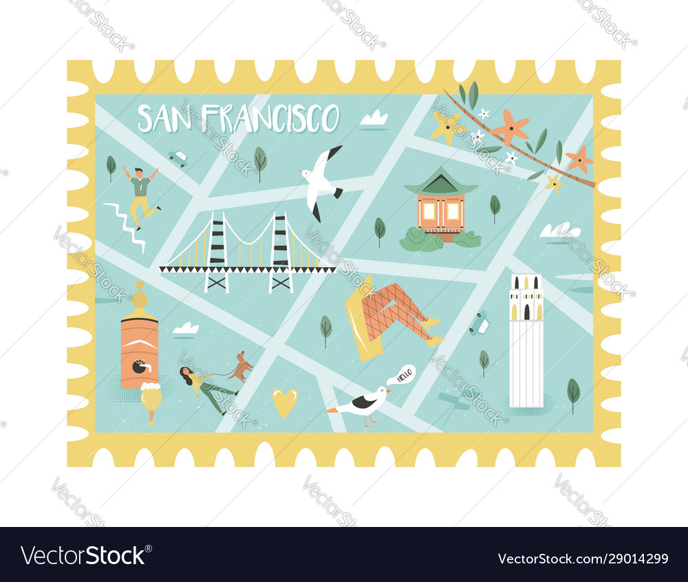 Postal stamp with san francisco map and symbols