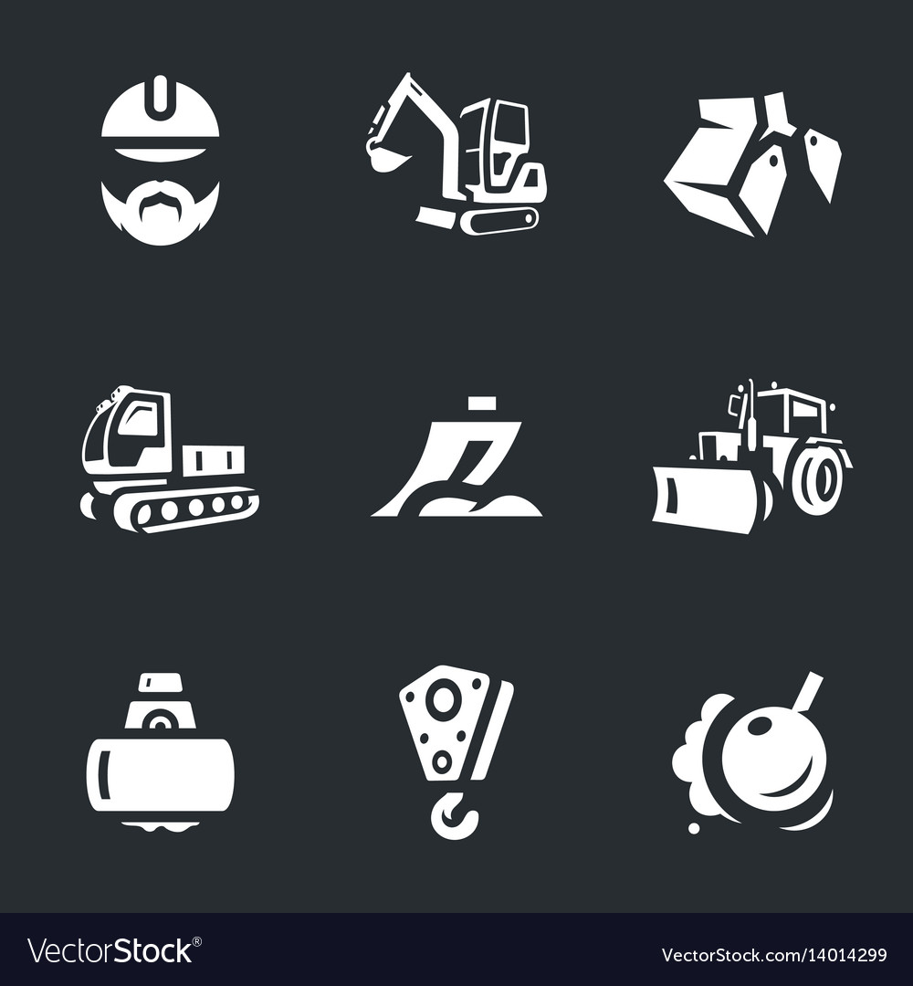 Set Of Construction Machinery Icons Royalty Free Vector