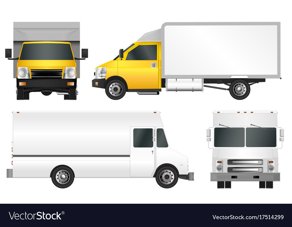 set truck template cargo van royalty free vector image