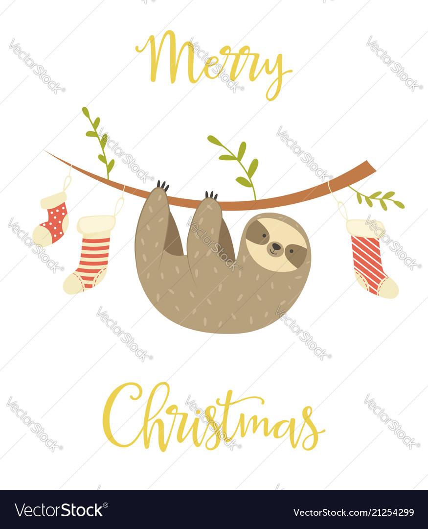 Christmas Sloth.Sloth Hanging On The Tree Christmas Greeting Card