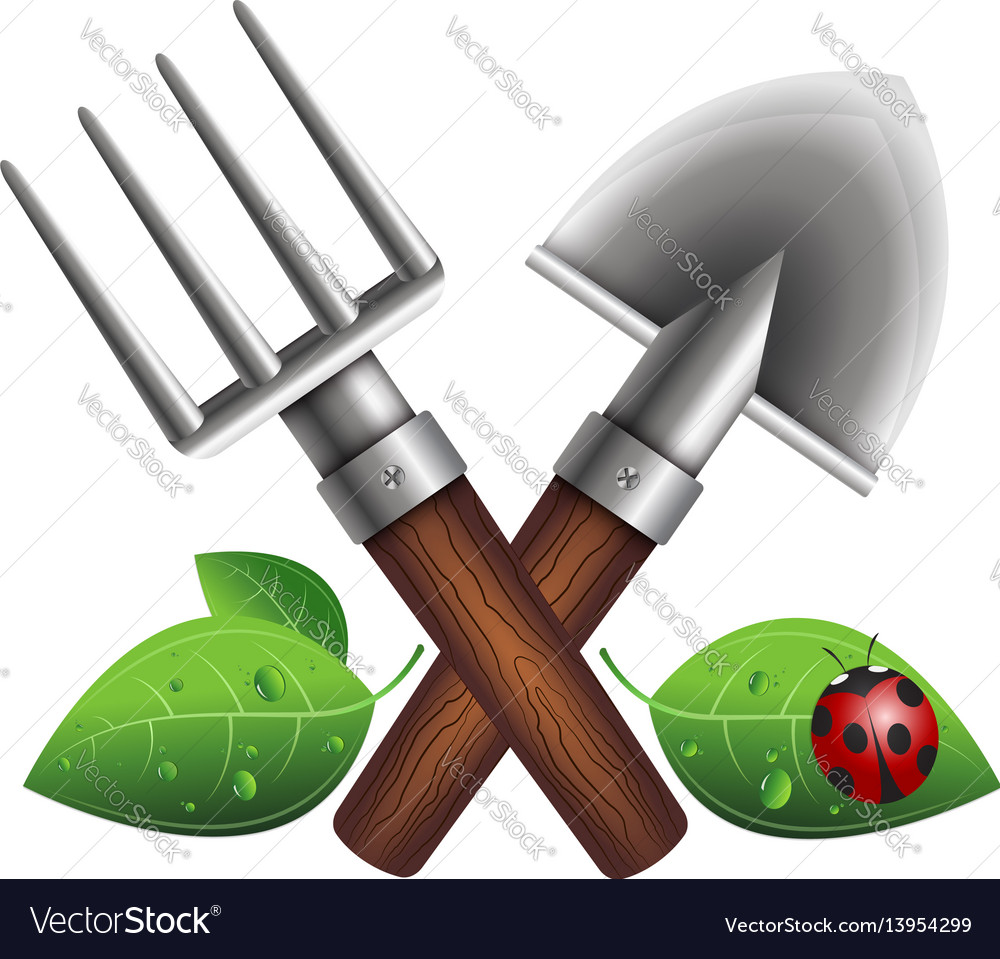 Small garden shovel and pitchfork