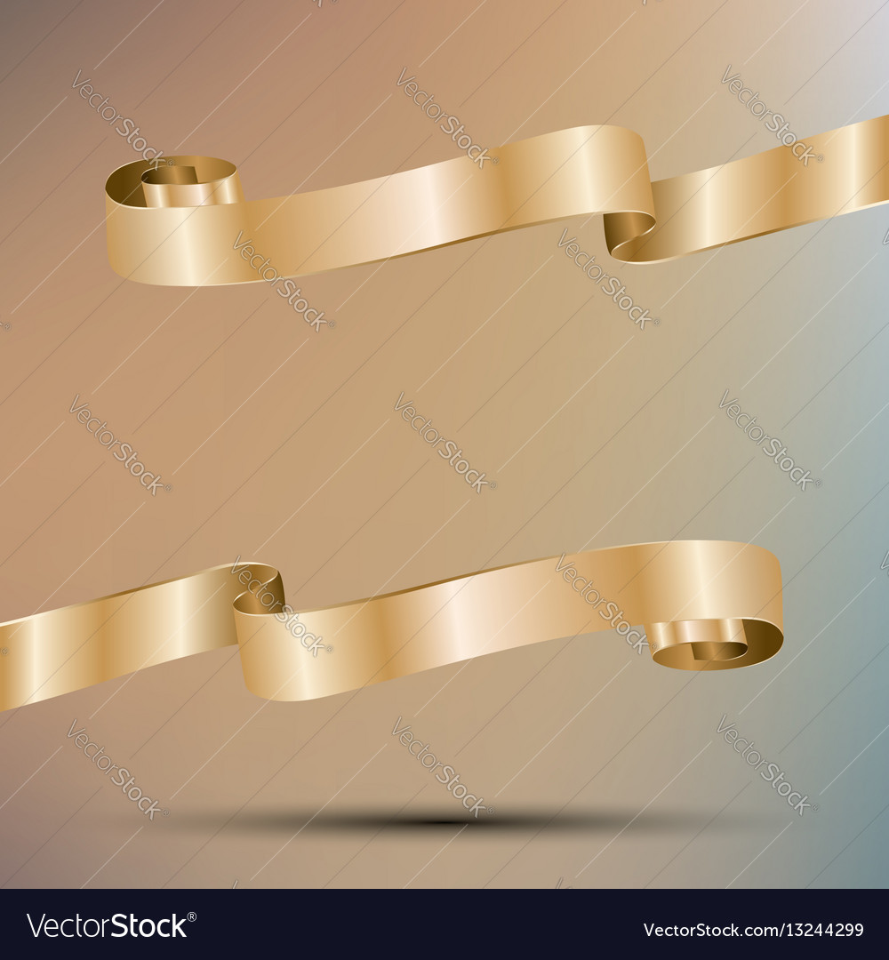 Two golden ribbon with copy space