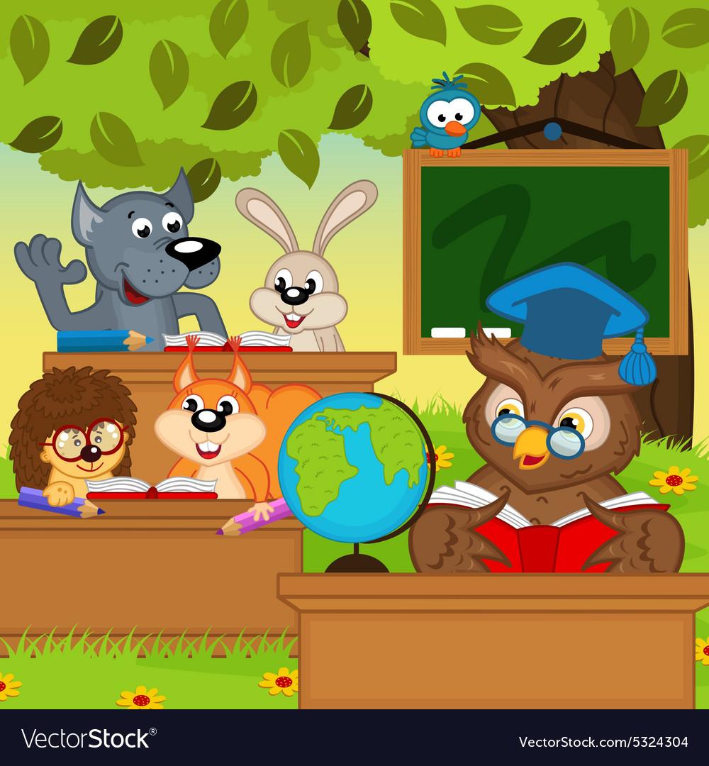 Animals sit at school desks in forest