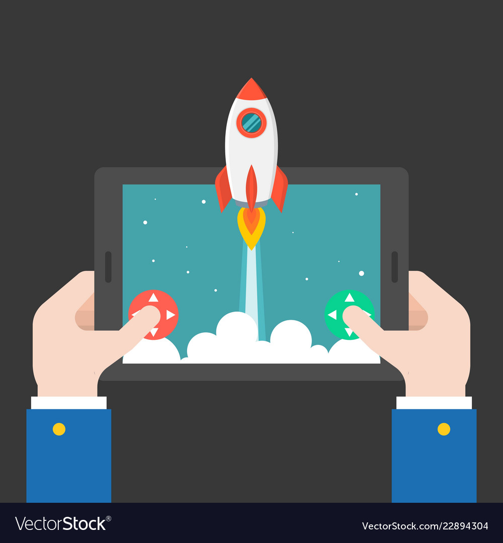 Business hand launching rocket from tablet or