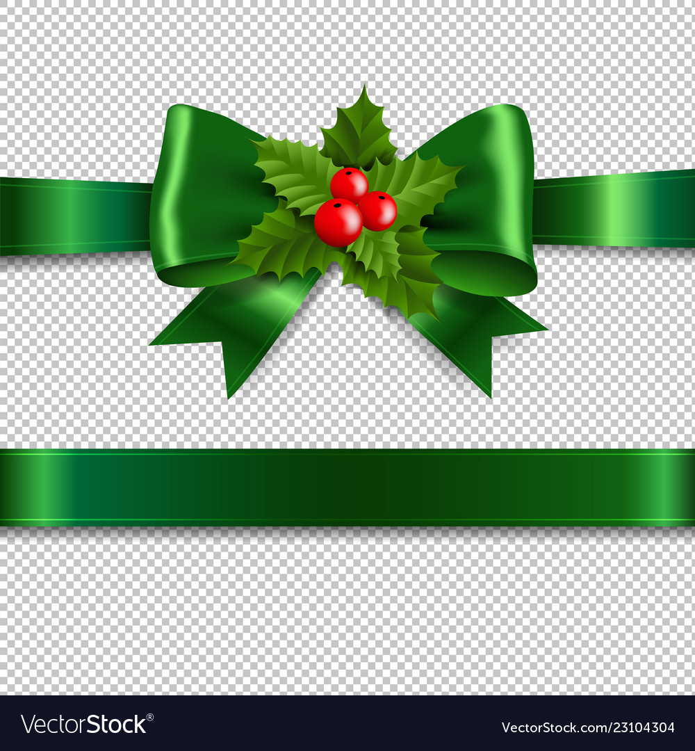 Green ribbon bow with holly berry transparent