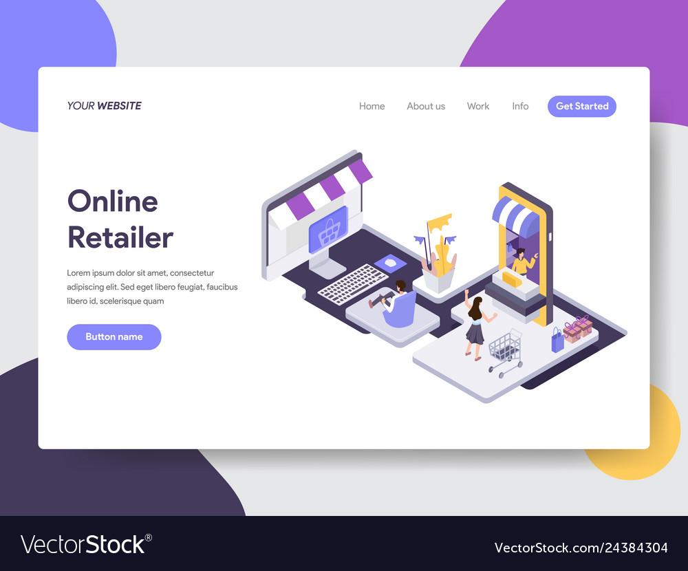 Landing page template of online retailer concept