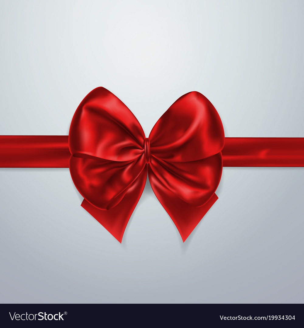 Red bow and ribbon silk satin or foil packing