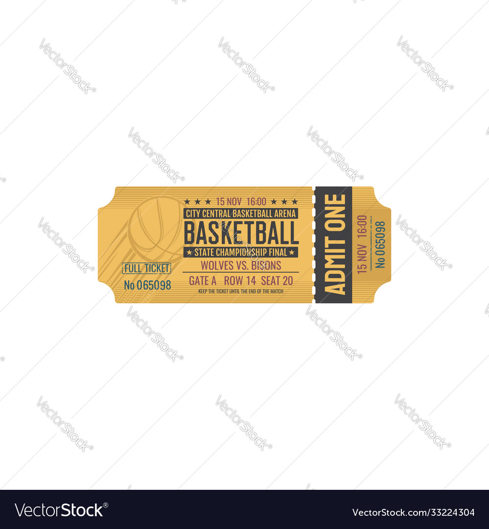 Retro ticket on basketball final game isolated