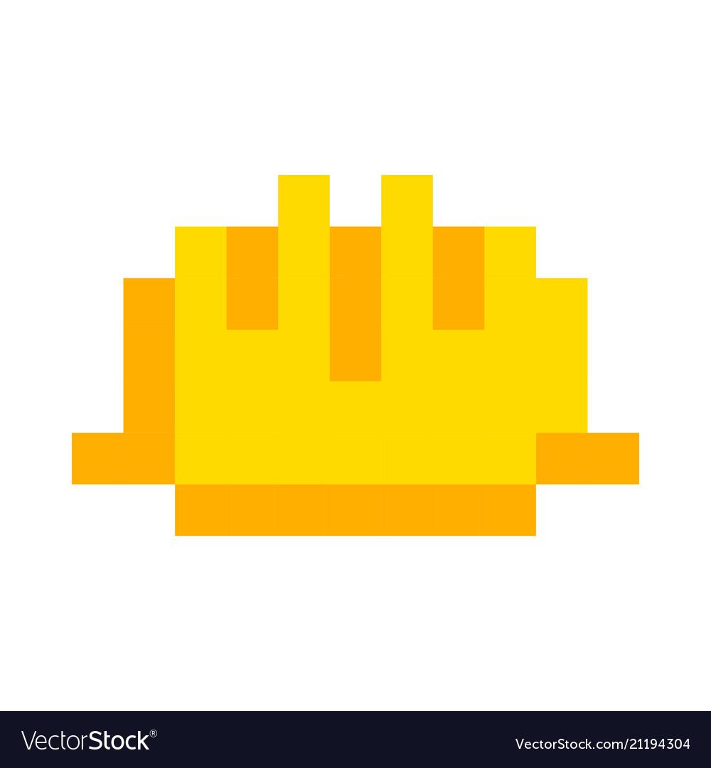 Safety helmet yellow icon pixel art cartoon retro