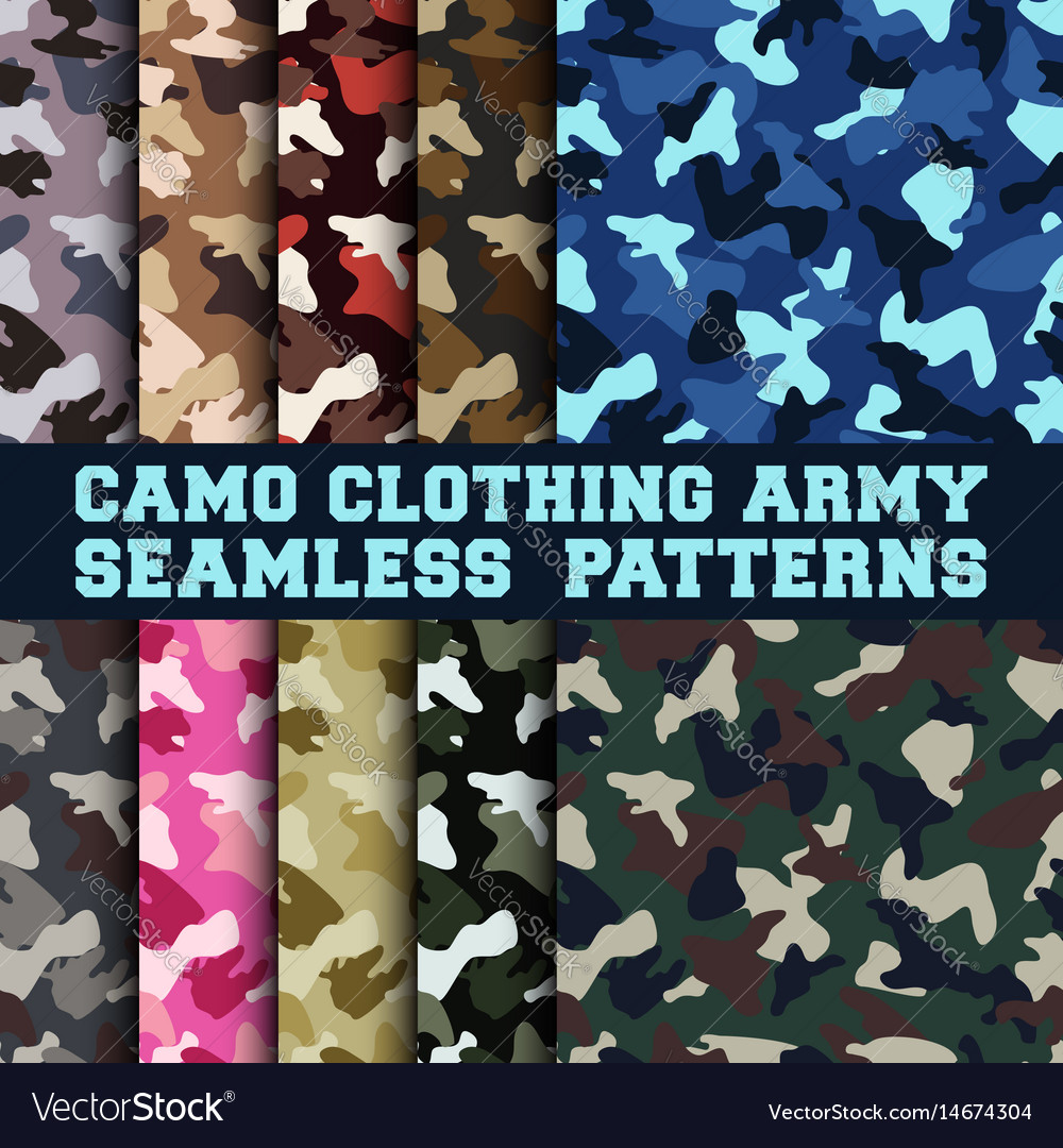 Set camouflage clothing army seamless pattern