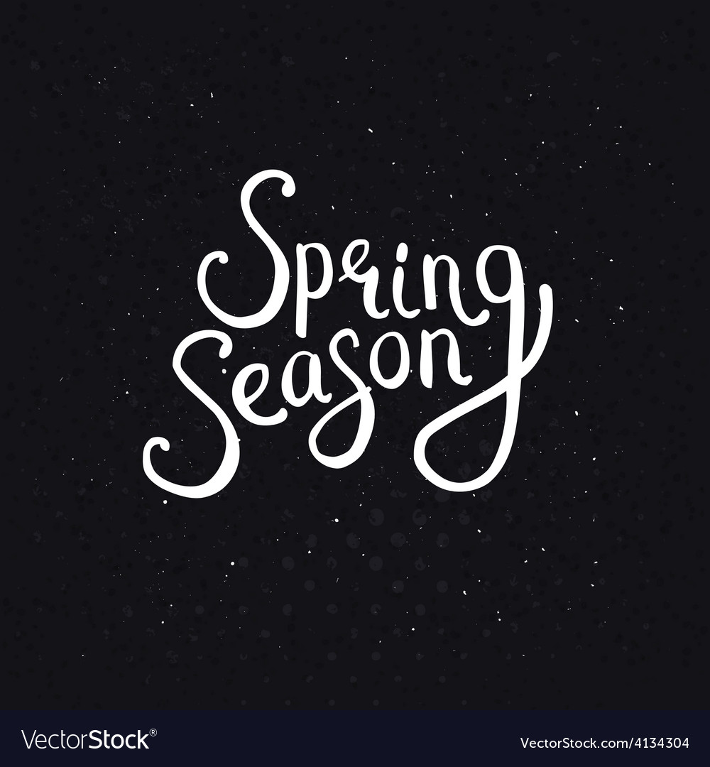 Spring Season Phrase on a Dotted Black Background