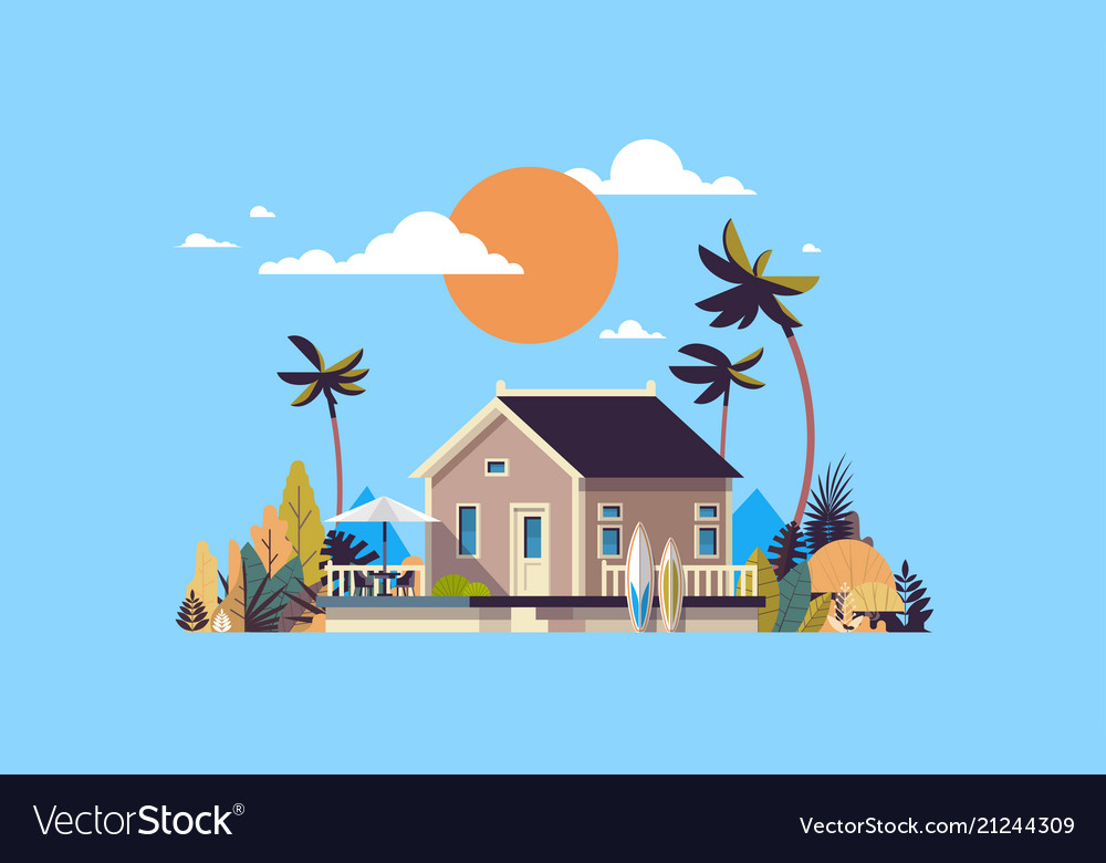 Big summer villa house umbrella surf board sunset