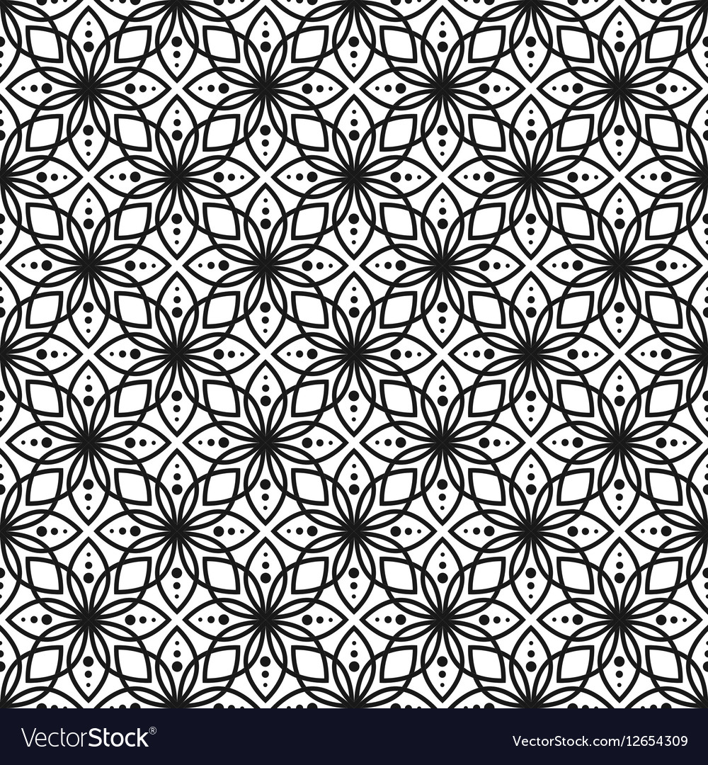 Black And White Seamless Floral Pattern Royalty Free Vector