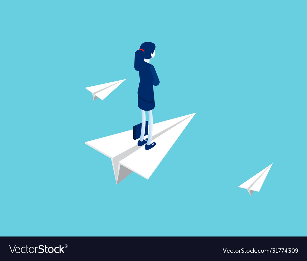 Businesswoman stands on a flying paper plane